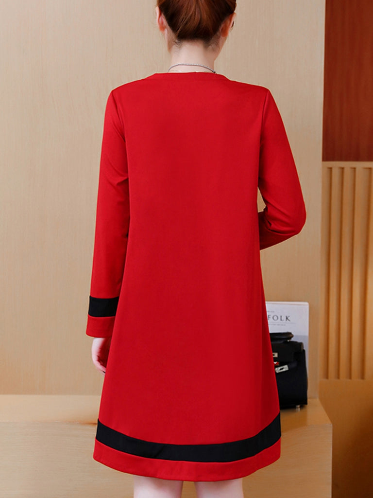 Women's Plus Size Dress Long Sleeve Colorblock Loose All Match Dress