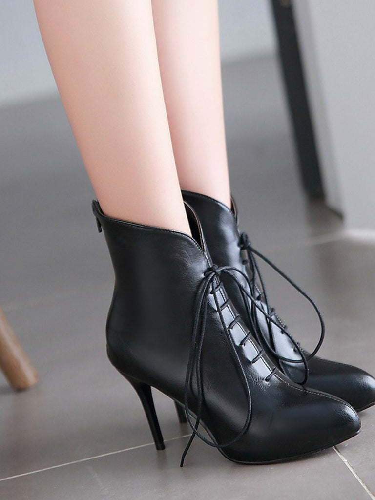 Women's Bottines Lace Up Pointed Toe Plus Size Thin Heel Shoes