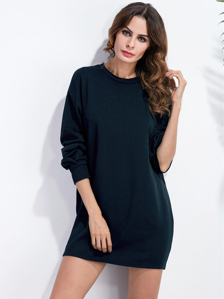 Women's Shift Dress Solid Color Long Sleeve O Neck Mini Dress