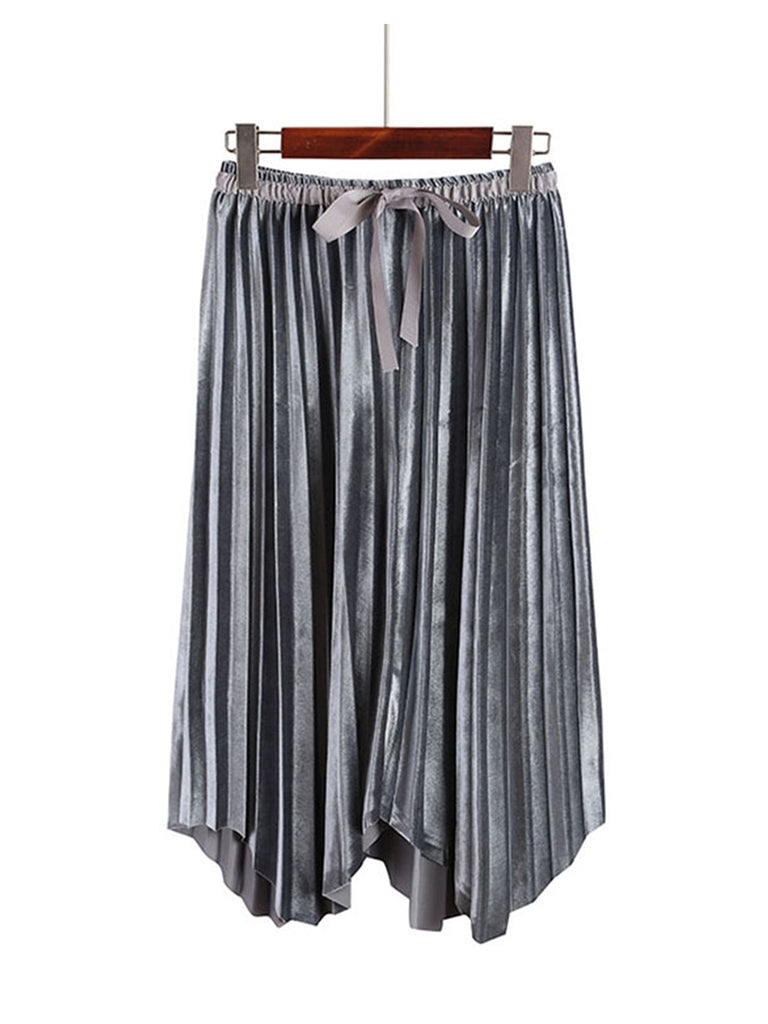 Women's Skirt High Waist Solid Pleated Aline Skirt