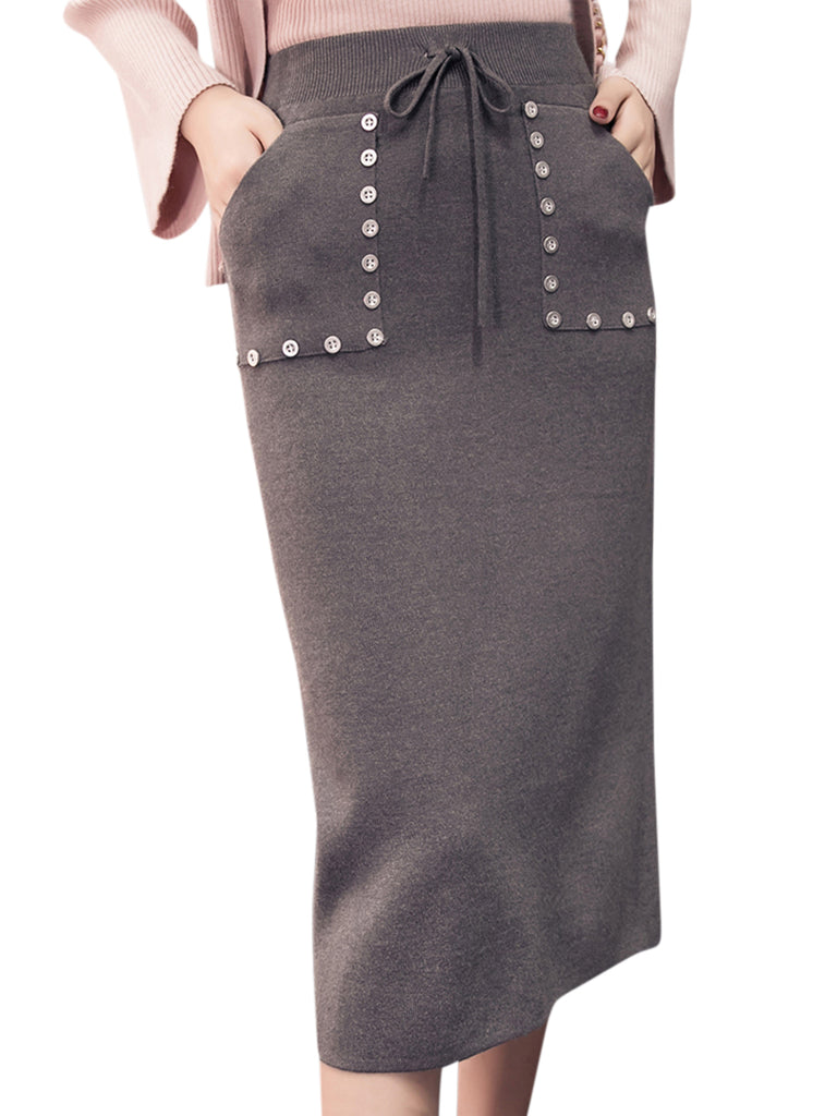 Women's Skirt High Waist Solid Split Bodycon Skirt