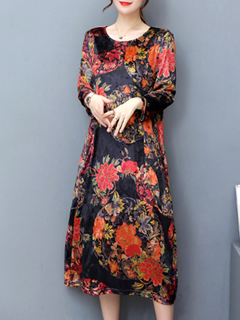 Women's Dress O Neck Long Sleeve Floral Loose Plus Size Dress