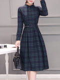 Women's Dress Stand Collar Long Sleeve Plaid Aline Dress