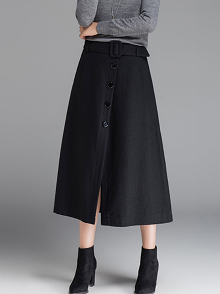 Women's Skirt Solid Color Button Split Aline Skirt