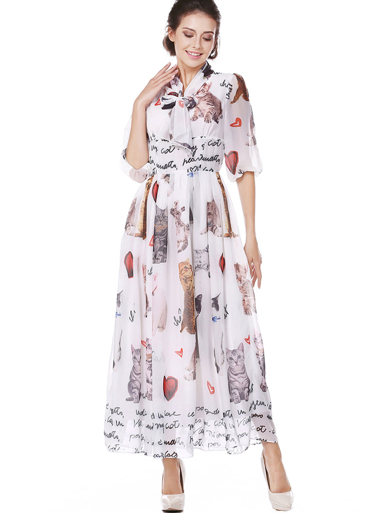 Women's A Line Dress Cat Pattern Casual Dress