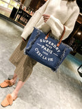 Women's Handbag Leisure Cowboy English Letters Pattern Large Capacity Handbag
