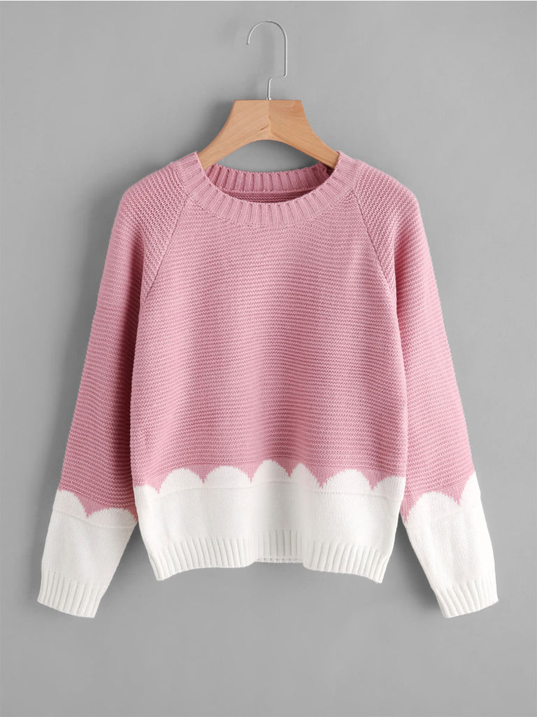 Women's Sweater Sweet Color Block O Neck Sweater