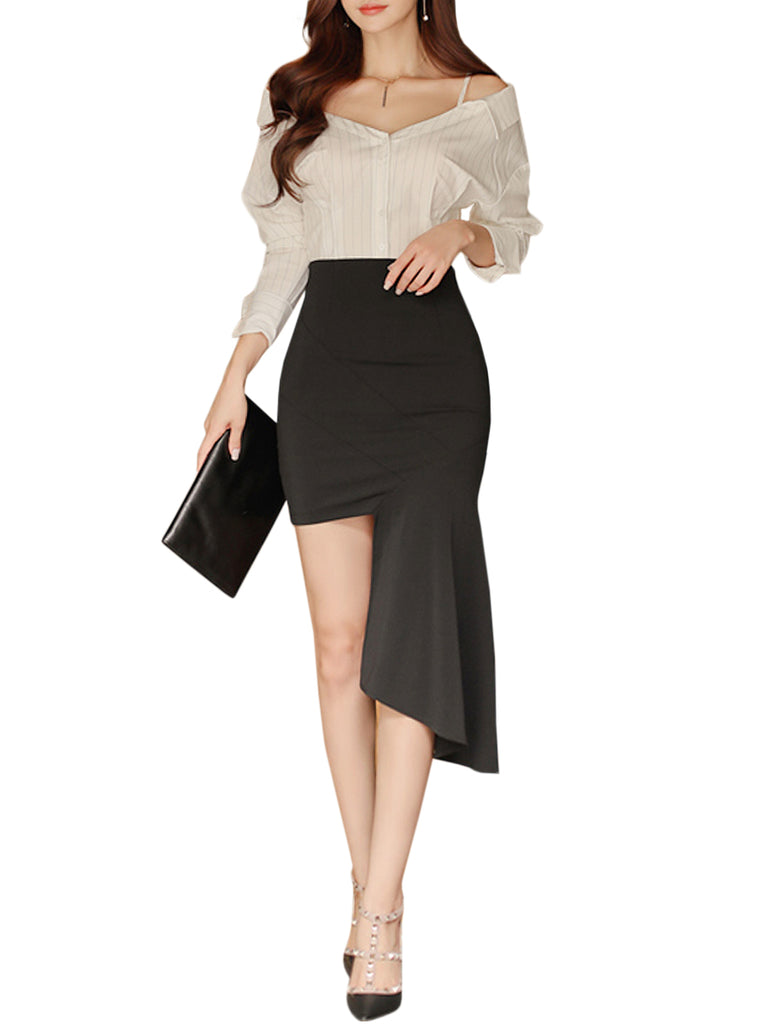 Women's Two -Piece Sets V Neck Long Sleeve Mid Waisted Asymmetric Solid Skirt Dress