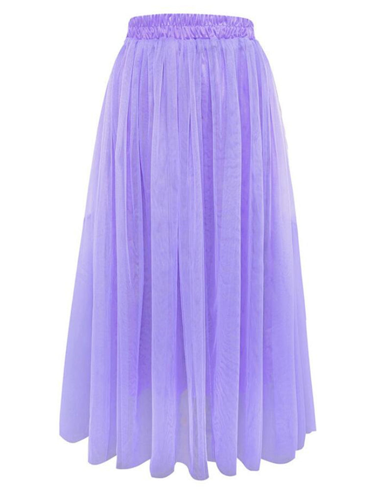 Women's A Line Skirt Solid Color Mesh Sweet Skirt