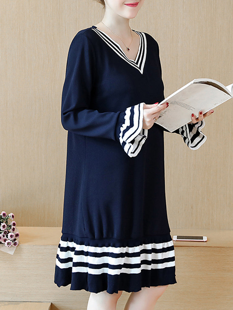 Women's Sweater Dress V Neck Flare Sleeve Color Block Plus Size Knitted Dress