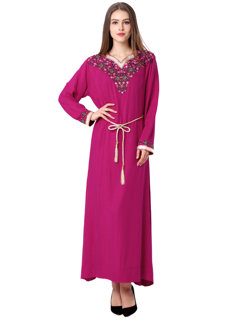 Women's Kaftan Dress Embroidery Self Sash All Match Kaftan Dress