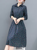 Women's Dress Turn Down Collar Long Sleeve Floral Aline Plus Size Dress
