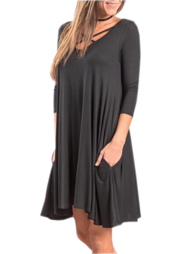 Women's Dress Solid Color V Neck Casual Dress