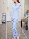 Women's Sleepwear Set Cute Animal Cartoon Pattern Casual O Neck Long Sleeve Cozy Home Suit