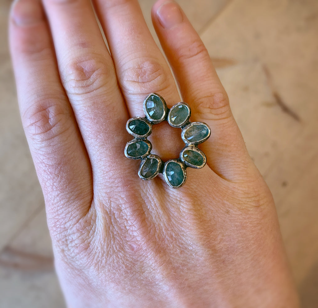 Aquamarine Floral Ring || Size 7.5