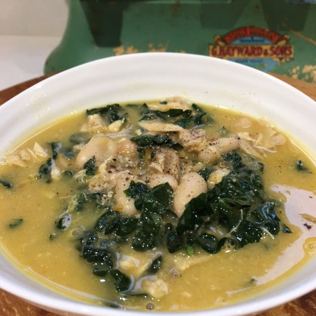 1 Chicken, 2 Ways (Part 2) Lemony Chicken Soup Canellini and Kale