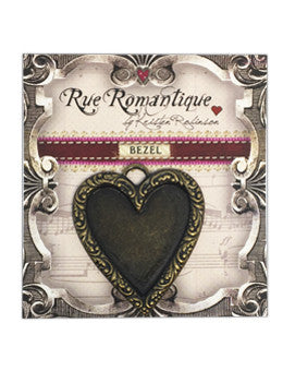 Rue Romantique Heart Antique Brass Closed Bezel, 1 pc.