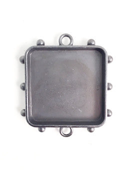 Hobnail Square Antique Silver Medium Bezels, 1 pc.