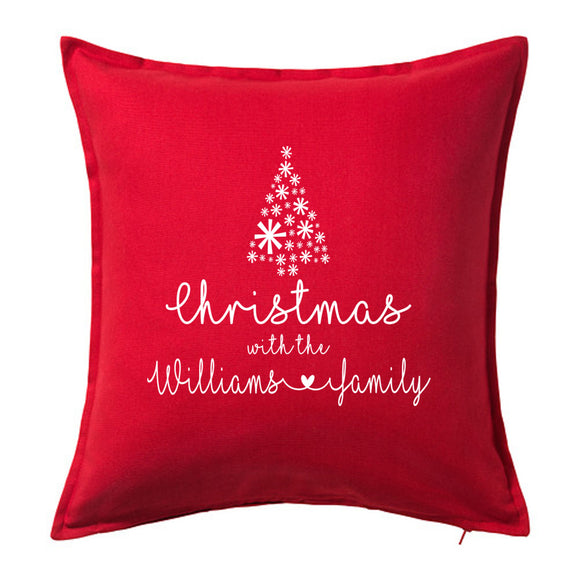 Christmas with the Family Name - Personalised Christmas Cushion with Christmas Tree