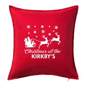 Christmas at the Family Name - Personalised Christmas Cushion with Santa & Reindeer