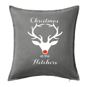 Christmas at the Family Name - Personalised Christmas Cushion with Stag Head