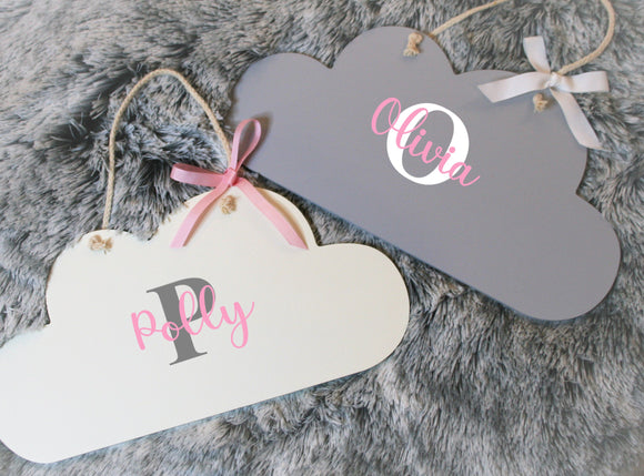 Personalised Cloud Door Sign ~ Cloud Shaped Bedroom Sign ~ Children's Bedroom Nursery Sign Initial & Name