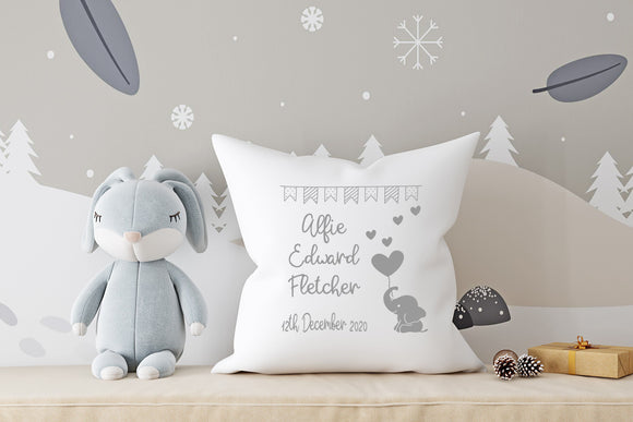 Name and Date with Elephant Hearts and Balloon ~ Newborn Baby, Christening, Birthday White Personalised Cushion Pillow including infill
