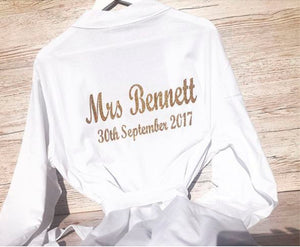 Personalised Wedding Bride Mrs Dressing Gown Kimono Wrap