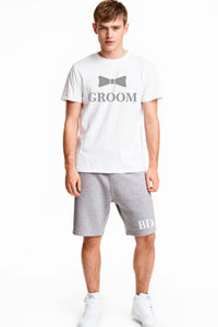 Men's Grooms Best Man Stag Party Loungewear Shorts Set Personalised with Title and Initials