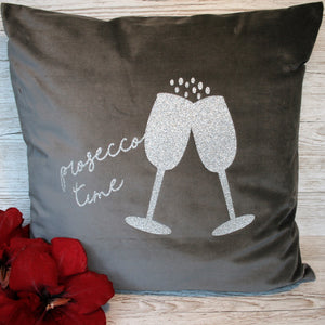 Grey velvet Prosecco Time cushion with glitter