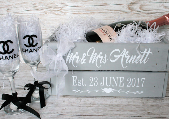 Wedding Gift Crate Wooden Box - Personalised