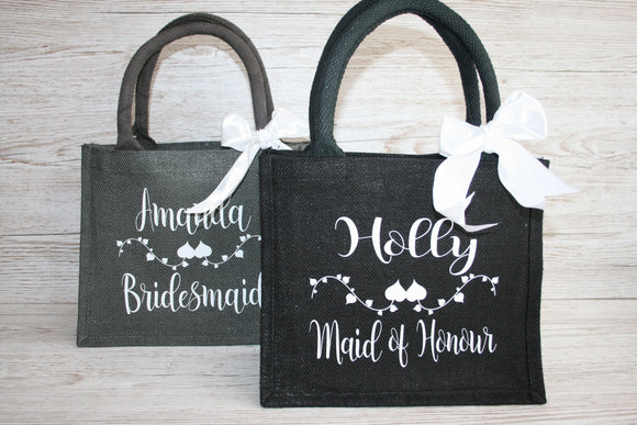 Wedding gift bag black or grey personalised