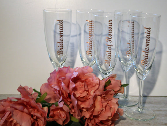 Personalised Wedding Champagne Flutes with Title or Name