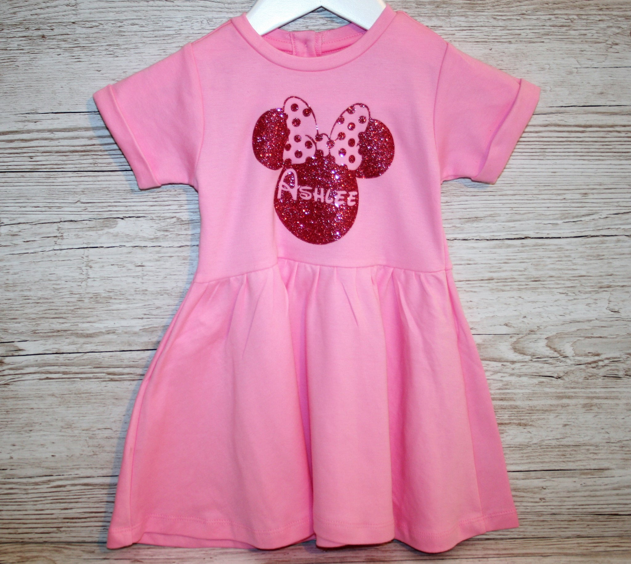 Girls Dress Personalised with Disney Minnie Mouse and Bow ...