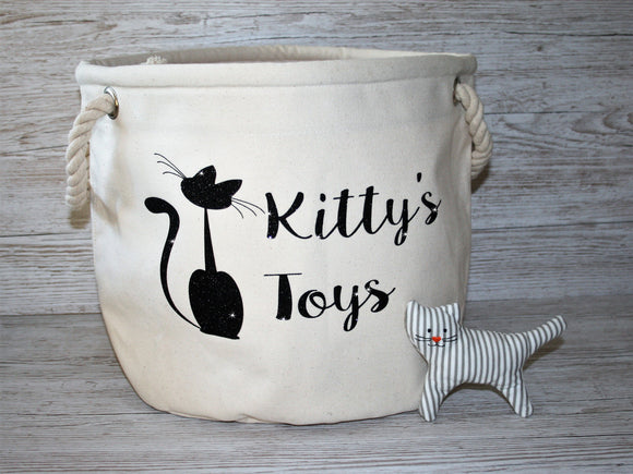 Personalised Heavy Canvas Storage Tub Cat Toys