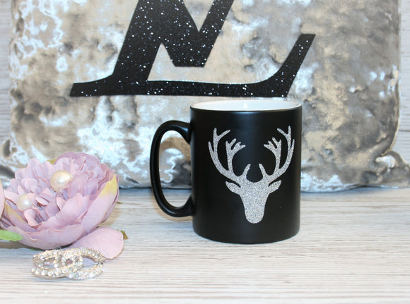 Black Mug with Glitter Stag Head
