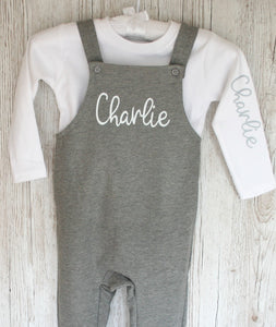Dungarees Personalised with White long sleeve T Shirt Baby Toddler Childrens Loungewear