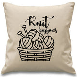 Knit Happens ~ funny knitting cushion