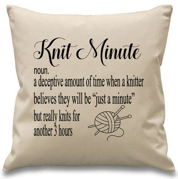 Knit Minute ~ funny knitting cushion