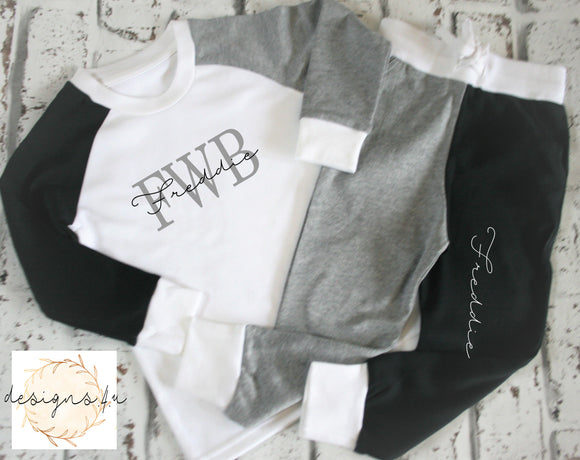 Personalised with initials and name ~ Loungewear Black,Grey and White
