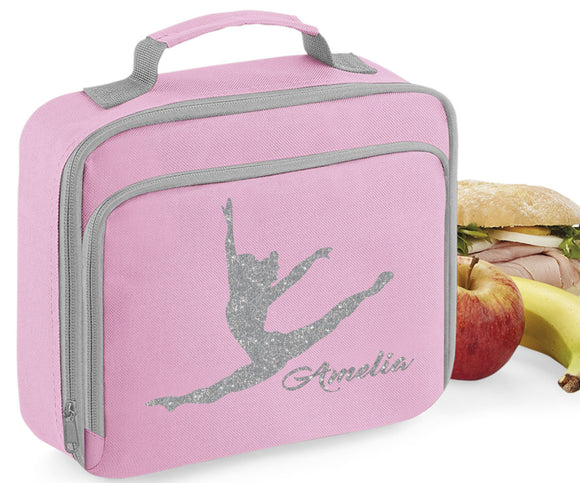 Personalised Name Gymnast Gymnastics Lunch Box Bag School Bags Custom Bag Glitter