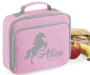 Personalised Name Horse Pony Lunch Box Bag School Bags Custom Bag Glitter