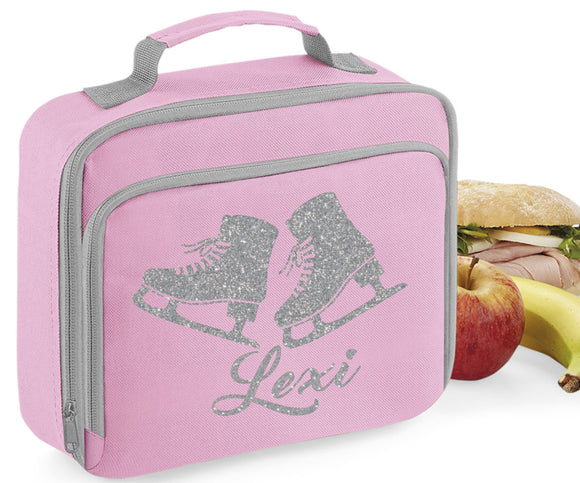 Personalised Name Ice Skating Skates Lunch Box Bag School Bags Custom Bag Glitter