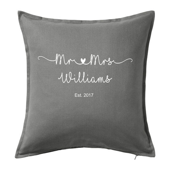 Mr & Mrs personalised cushion wedding anniversary valentines gift