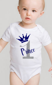 White Babygrow vest ...... 1st birthday with name and crown