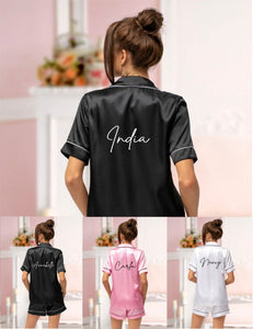 Satin Short Pjs Pyjamas Personalised with Name