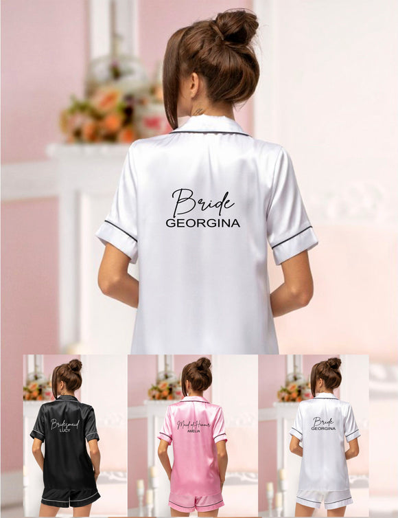 Wedding Satin Short Pjs Pyjamas Bride Bridesmaid Hen Party Weekend Personalised