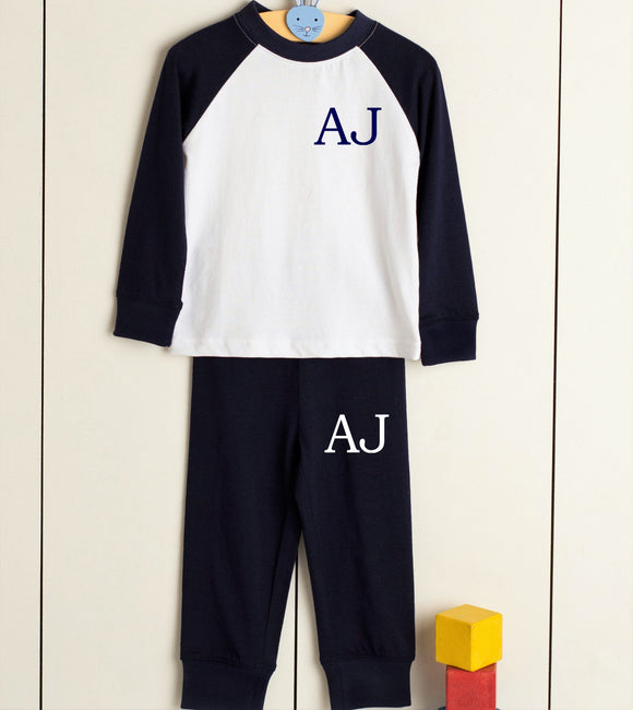 Personalised initials pyjamas pjs navy and white monogram