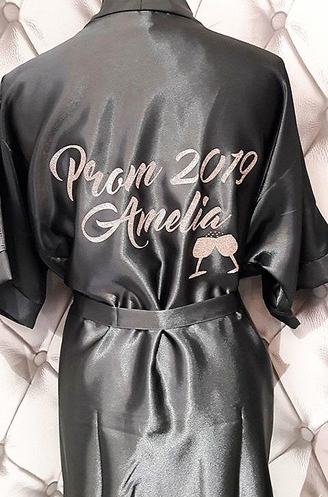 Personalised Satin Dressing Gown Robe ~ Prom with Champagne and Name