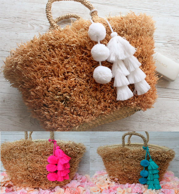 Straw Raffia Fringe basket with Pom Poms and Tassels swag